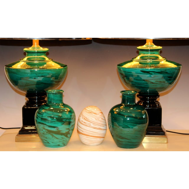 Black Bitossi MCM Raymor Vintage Italian Pottery Marbled Green Marbleized Vases, Pair For Sale - Image 8 of 9