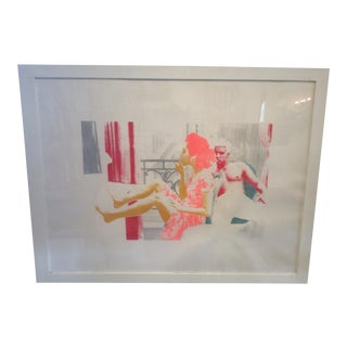 """Reflection"" Original Screen Print in Acrylic Frame For Sale"