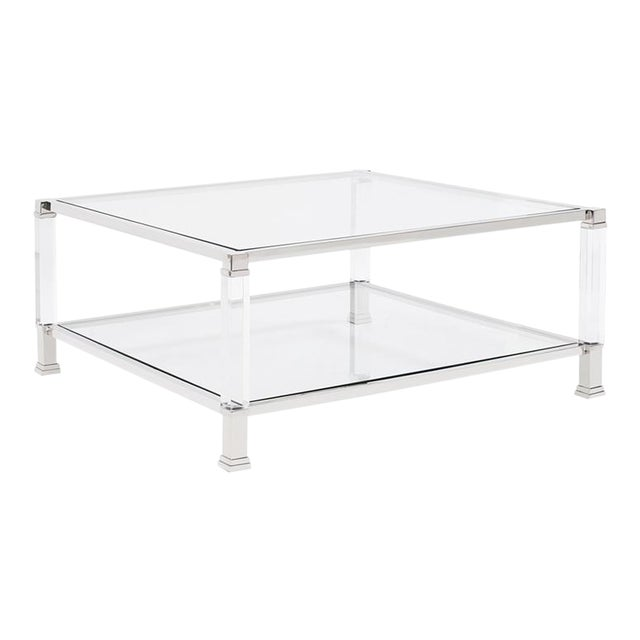 Kenneth Ludwig Claire Acrylic & Chrome Coffee Table For Sale