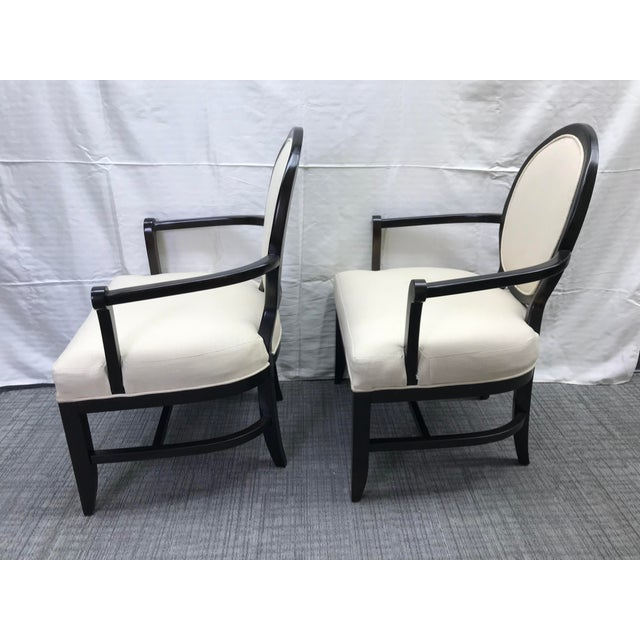 Contemporary Transitional Barbara Barry Cream Oval X-Back Arm Chairs - a Pair For Sale - Image 3 of 13