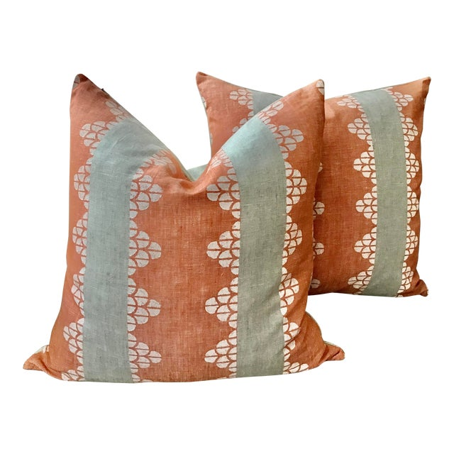 """Boho Chic Thibaut """"Dhara Stripe"""" in Orange and Natural Down Filled Pillows - a Pair, 22"""" For Sale"""