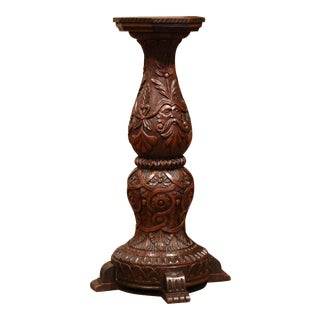 19th Century French Louis XIII Carved Walnut Pedestal Table From Normandy For Sale
