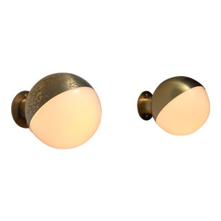 Vilhelm Lauritzen pair of opaline glass and brass wall lamps For Sale