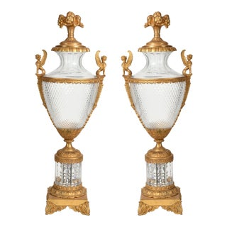 Antique Matching Bronze & Cut Glass Urns - a Pair For Sale