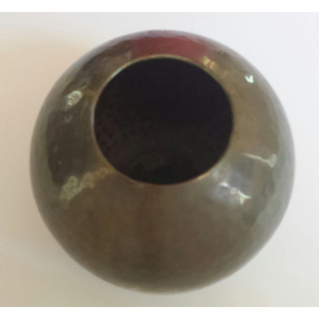 Vintage Hammered Brass Round Ball Vase - Image 3 of 5