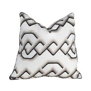 Contemporary Interlocking Bronze, Black, Creme Silk Cotton Pillow - 22 X 22 For Sale