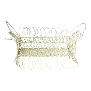 Antique 19th-Century Victorian White Twisted Metal Wire Planter Basket For Sale