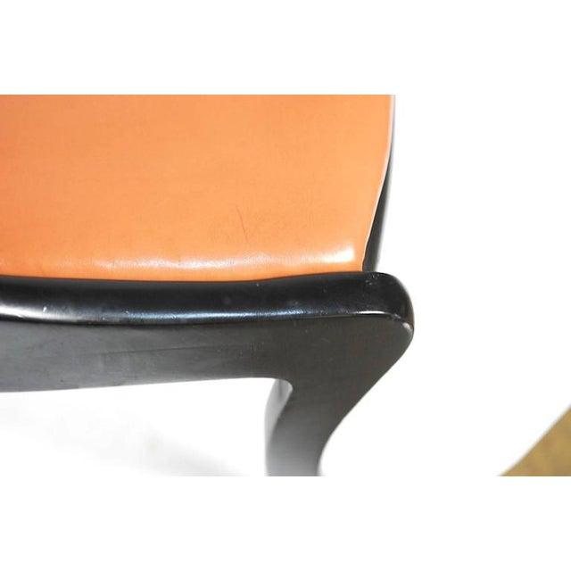 Set of Four Mid-Century Black Lacquer Dining Chairs - Image 9 of 10