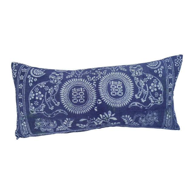 Hand Batik Cat Design Lumbar Pillow - Image 1 of 5