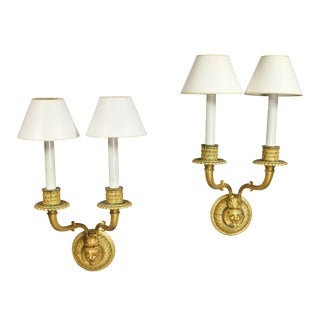 Neoclassic Style Gilt Bronze Wall Lights - a Pair For Sale