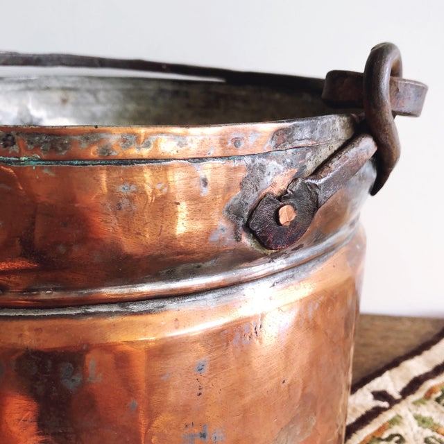 Late 19th Century Antique French Copper Pot With Hand-Forged Iron Handle For Sale - Image 5 of 7
