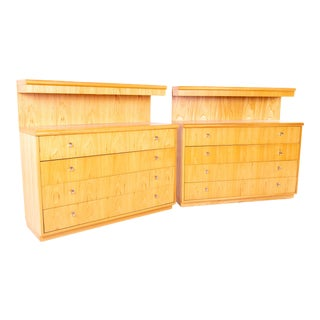 Mid Century Jack Cartwright for Founders Lighted Blonde Maple 4 Drawer Low Dresser Chest - Pair For Sale