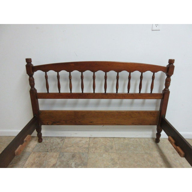 Stickley Cherry Spindle Carved Full Size Headboard Bedframe - Image 5 of 5