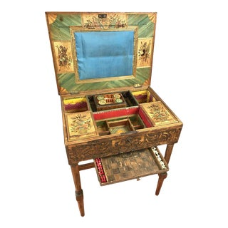 Mid-19th Century French Straw Work Marquetry Game Table