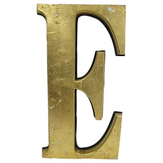 Large Gold English Pub Letter 'E' Sign For Sale