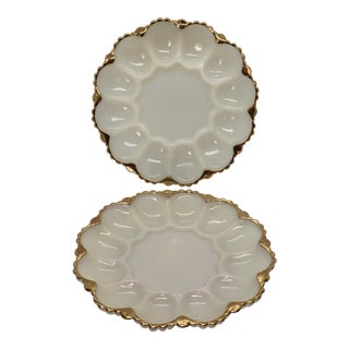 Mid-Century Pressed Milk Glass Oyster or Egg Serving Dish With 22 Karat Gold Trim - a Pair For Sale