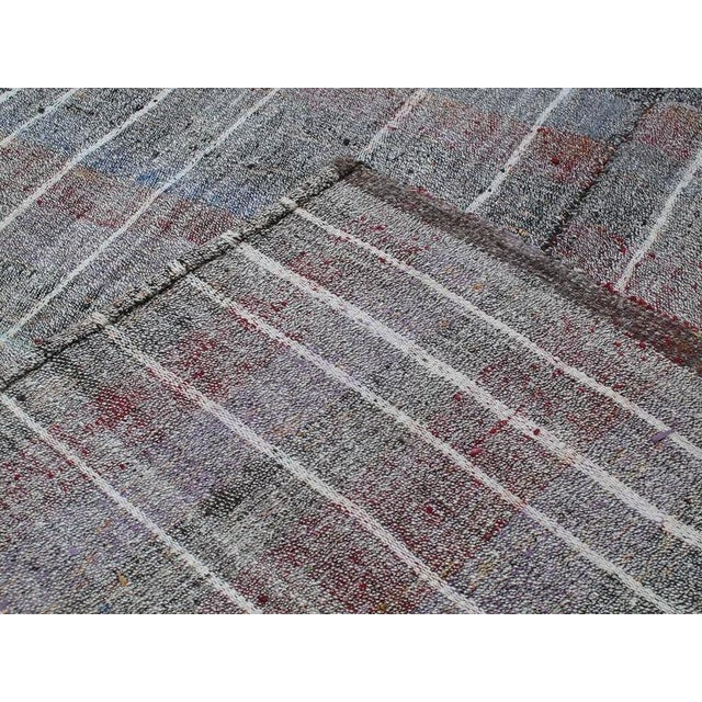 Gray Cotton and Goat Hair Kilim with Subtle Color For Sale - Image 8 of 9