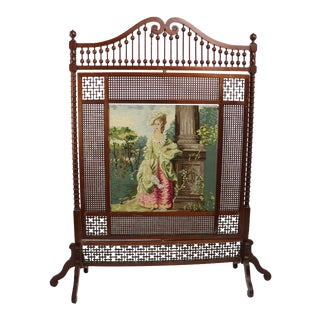 Large Victorian Stick and Ball Fireplace Screen With Tapestry Scene For Sale