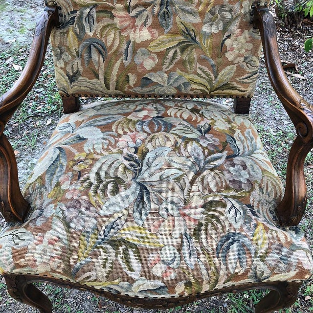 Brown 19th Century French Louis XV Tapestry Armchair For Sale - Image 8 of 13