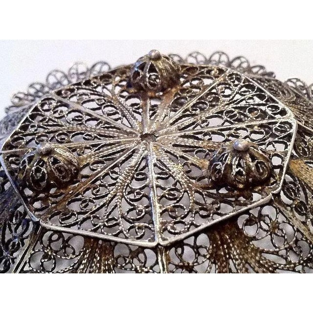 Mid 20th Century Lovely Doll's Silver Filigree Handled Basket For Sale - Image 5 of 9