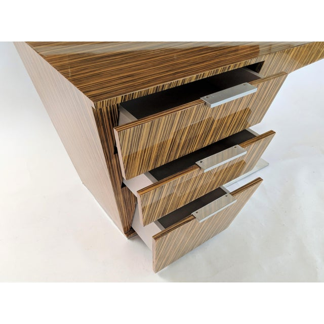 Wood Zebra Wood Modern Cantilever Desk For Sale - Image 7 of 13