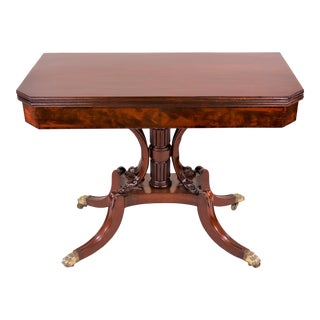 Circa 1815 Regency Mahogany Card Table With a Fold Over Swivel Top For Sale