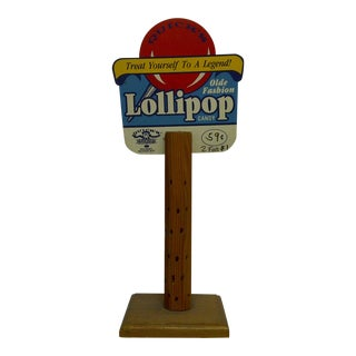 "Late 20th Century Vintage ""Quick's Olde Fashion Lollipop Candy"" Wood Lollipop Candy Sales Stand For Sale"