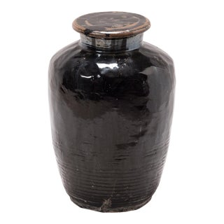 Early 20th Century Chinese Vinegar Jar With Lid For Sale