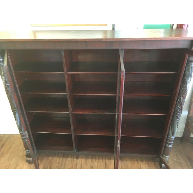 Early 1900s Acanthus Carved Mahogany 3-Door Bookcase - Image 2 of 10