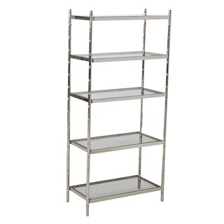 Chrome Etagere – Maison Bagues Style Faux Bamboo For Sale