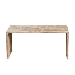 Whitewashed Patchwork Teak Table For Sale
