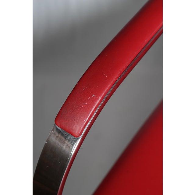 Red Leather Brno Flat Bar Armchair by Gordon International - Image 4 of 7