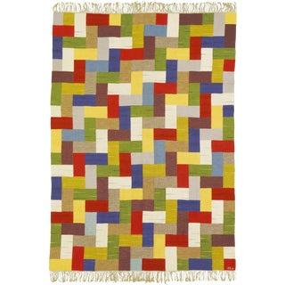Swedish Flat Weave Rug by Ingrid Hellman-Knafve- 6′ × 8′5″ For Sale