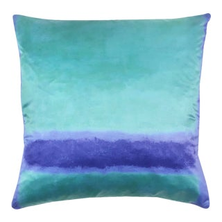 Color Block Blue and Green Pillow For Sale