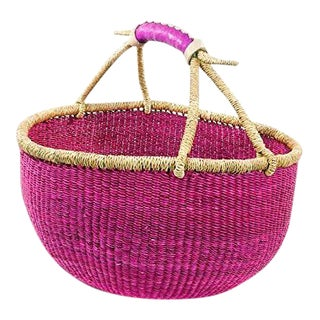 Large African Boho Chic BOlga Ghana Woven Fiber Pink Basket For Sale