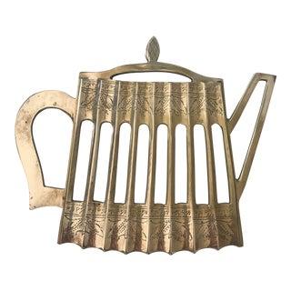 1960s Brass Teapot Trivet For Sale