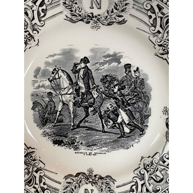 19th Century Boch Freres Napoleon Boch Plate, black and white transferware plate with Napoleon's Crest and the wreathed...