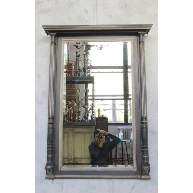 Silver French 19th Century Carved Columned Mantel Mirror For Sale - Image 8 of 11