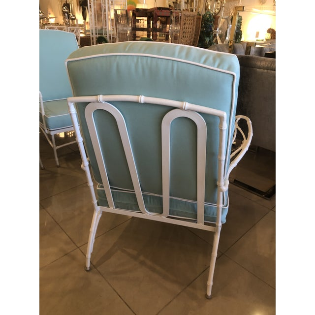 Vintage Sunbrella Faux Bamboo Powder-Coated Metal Lounge Patio Chairs - Set of 3 For Sale In West Palm - Image 6 of 13