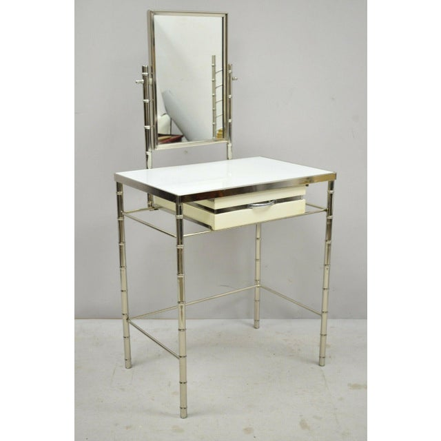 Hollywood Regency Mid 20th Century Hollywood Regency Faux Bamboo Metal Vanity With Chair-a Pair For Sale - Image 3 of 13