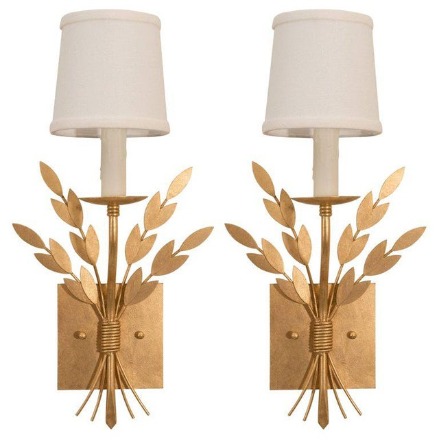 Gilt Metal Sconces For Sale - Image 10 of 10