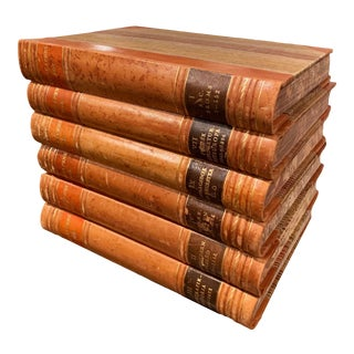 Set of Six Midcentury Leather Bound Swedish Books of Knowledge, Dated 1949 For Sale
