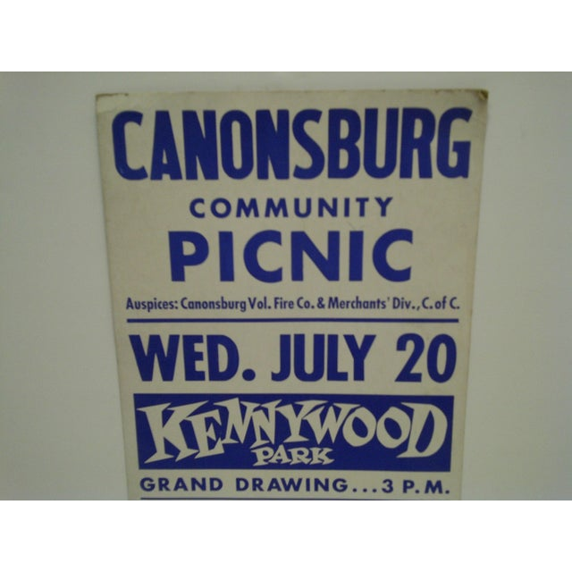Americana Circa 1950 Canonsburg Community Picnic Kennywood Park Poster For Sale - Image 3 of 5