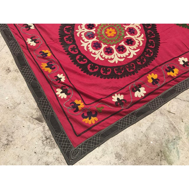 Red Handmade Suzani Tablecloth For Sale - Image 5 of 5