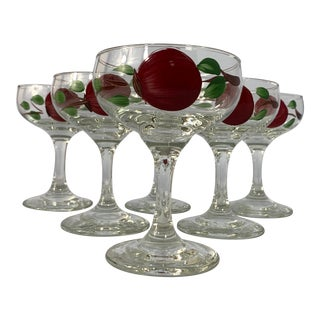Vintage Hand Painted Libbey Tulip Glassware by Franciscan - Set of 6 For Sale