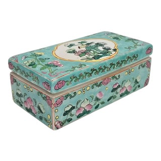 Vintage Light Blue Chinese Famille Rose Porcelain Box With Flowers and Phoenix - Asian Oriental Palm Beach Boho Chic Mid Century For Sale