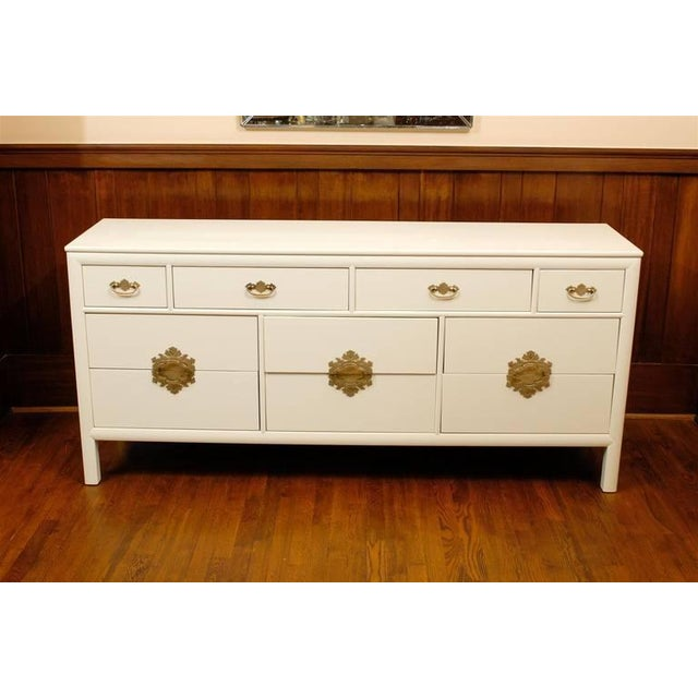A Fantastic ten ( 10 ) drawer chest by Century Furniture Company, circa 1970. The Fabulous solid brass hardware is the...