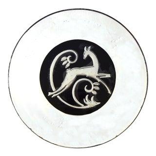 Art Deco Round Silvered Deer Mirror For Sale
