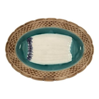 Early 20th Century French Majolica Asparagus Platter For Sale
