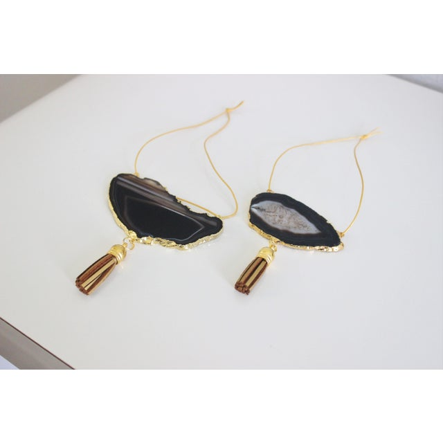 Modern Boho Black Agate Holiday Ornaments - A Pair - Image 3 of 6